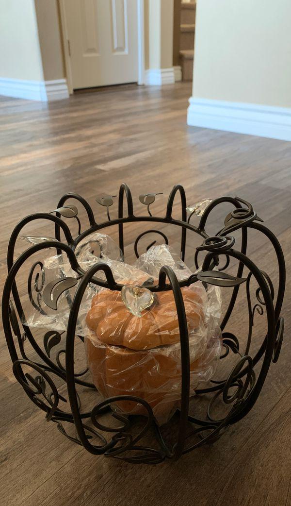 PartyLite Pumpkin Pillar Holder and Pumpkin candle/candy holder
