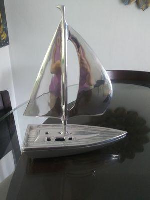 Pier 1 Imports silver heavy decorative sailboat for Sale in Miami, FL