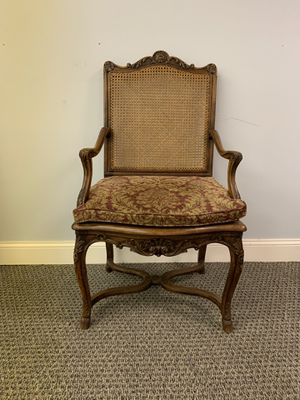 Antique wicker chair with custom cushion for Sale in Chesterbrook, PA