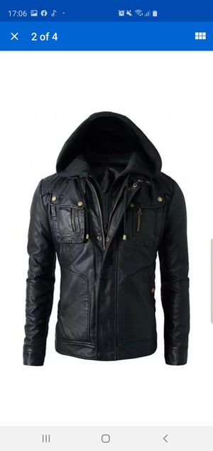 Genuine leather jacket with hoodie men. Medium for Sale in Columbus, OH