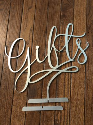 Silver Wood Thick Gifts Sign Freestanding for Weddings or Events for Sale in Charlottesville, VA