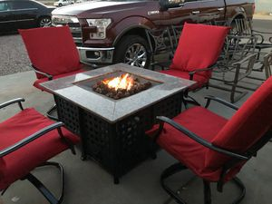 Fire pit propane patio furniture 5p New cushions for Sale in Phoenix, AZ