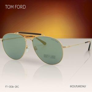 Tom Ford Men Sean FT-0536-28C Sunglasses Gold Aviator Flash Gold Mirrored Gray Lens 2N for Sale in Miami, FL