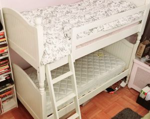 Beautiful Pottery Barn Catalina Twin Over Twin Bunk Bed with Trundle with 2 Mattressess with Newer cover for Sale in San Diego, CA