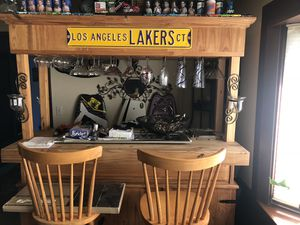 Heavy duty bar with stools and all glasses for Sale in Salem, OR
