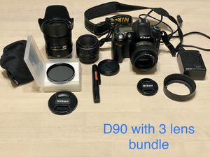 Nikon D90 DSLR with 3 Lens for Sale in Temple City, CA