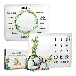 Baby Monthly Milestone Blanket |DOUBLE SIDED + WREATH FRAME| Growth Month Blanket - Best Shower Gift for Newborn Girl & Boy - Floral Age Photo Props B for Sale in Los Angeles, CA
