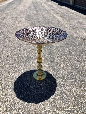 "Bird Bath or feeder for you garden ! Glass 16"" gold n red patterned bowl with gold ornate 18"" h stand for Sale in Bayfield, CO"