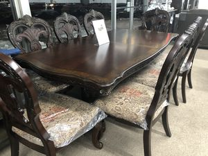 Luxury solid wood dining table eight chairs with leaf for Sale in Elgin, IL