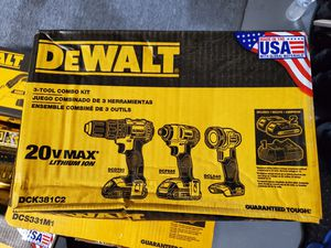 DEWALT 20-Volt MAX Lithium-Ion Cordless Drill/Driver, Impact & Light Combo Kit for Sale in Burlington, NJ