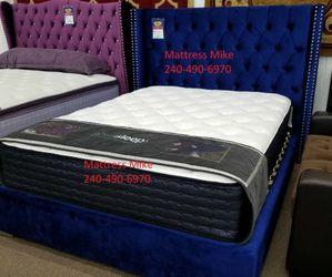New Box Blue Velvet Queen Size Platform Bed Frame Special for Sale in Hyattsville,  MD