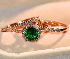 18kt Rose Gold Over Sterling Silver 1ct Emerald 3pcs Wedding Ring Set Size 6,7,8 for Sale in Silver Spring, MD