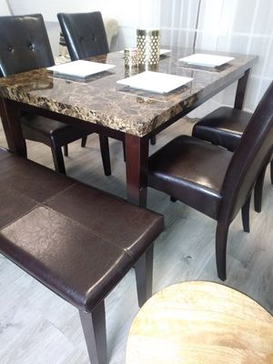 New Marble Top Kitchen Tables Dining Room Table Four Chairs And A Bench for Sale in Laurel, MD