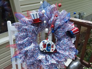 4th of July camper flower wreath or without camper for Sale in Roanoke, VA