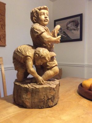Two boys catching fish wood sculpture for Sale in Alexandria, VA