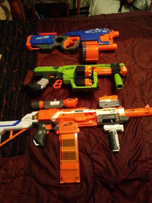 Large nerf guns ..with bullets already loaded like new used a few times .. 50 fa all 3 good deal for Sale in Vero Beach, FL