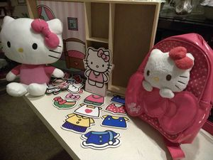 Hello Kitty plush stuffed, Hello Kitty plush stuffed with back pack, Hello kitty dress up bedroom and accessories.$20.00 for Sale in Albuquerque, NM