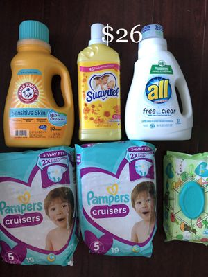 2 Pampers Diapers, 1 Baby Wipes, 1 Arm & Hammer & All Laundry Soap, 1 Suavitel Softener: 6 items $26 for Sale in East Los Angeles, CA