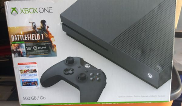 Xbox One special edition 500gb Color gray comes with wireless control no games. Upgrading to a different system selling it for $250.