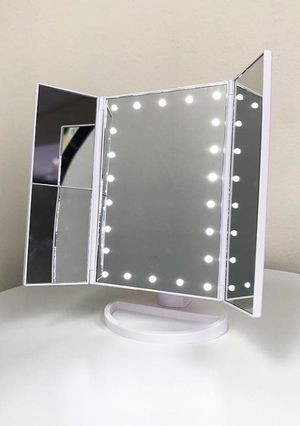 """(New in box) $20 each Tri-fold LED Vanity Makeup 13.5""""x9.5"""" Beauty Mirror Touch Screen Light up Magnifying for Sale in Whittier, CA"""