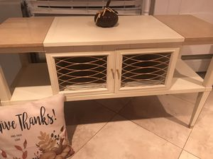 Ivory and gold hand mid century modern painted buffet/console/entryway table for Sale in Edison, NJ