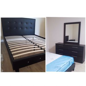 New queen bed frame and mirror dresser mattress sold separately for Sale in Lake Worth, FL