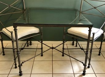 Indoor/Outdoor Glass-Top Metal Table with 2 Chairs for Sale in Richardson,  TX