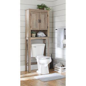 Over the Toilet Bathroom Storage Cabinet Gray Linen Organizer Cabinets Shelves for Sale in Rio Linda, CA