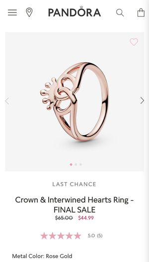 Pandora Crown and Intertwined Ring Size 6 for Sale in Red Lion, PA