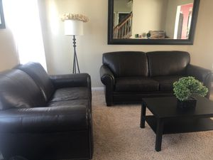 Brown Leather Couch Set - Sofa and Loveseat for Sale in Waldorf, MD