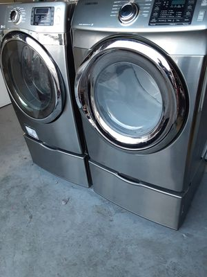STAINLESS STEEL WASHER AND DRYER SAMSUNG WITH PEDESTALS for Sale in La Habra Heights, CA