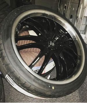 20 inch rims with tired very good condition 5 lugs.. for Sale in Crofton, MD