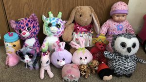 Variety of stuffed animals & baby doll for Sale in Grove City, OH