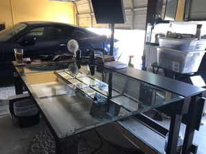 Beautiful Glass top wooden desk. for Sale in Tracy, CA
