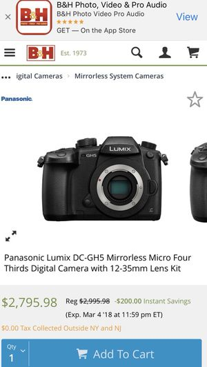 Panasonic LUMIX DC-GH5 Mirrorless Micro Four Thirds Digital Camera W 12-35mm Lens Kit , come with charger and Battery for Sale in Dallas, TX