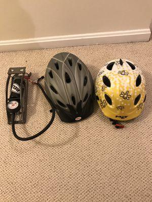 2 bike helmet and bike pump $15 for Sale in McLean, VA