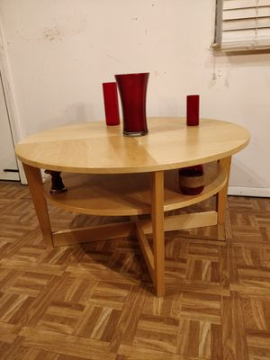 "Nice wooden round table with shelf in great condition, pet free smoke free. D35.5""*H18.5"" for Sale in Annandale, VA"