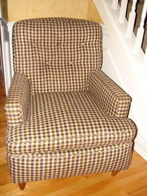 Nice Cute Accent Side Chair with Arms Eggplant Olive Plaid Wooden Legs for Sale in Mill Creek, WA