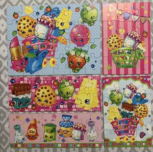 Shopkins 5 Puzzle Wooden Set with Wood box for Sale in Alexandria, VA