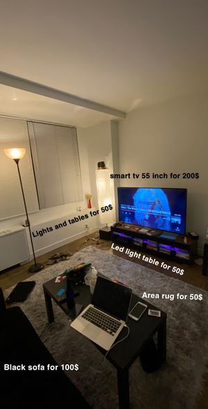 Smart tv 55 inch , 2 tables , tv led light table , 2 lights , black sofa , area rug for Sale in Alexandria, VA