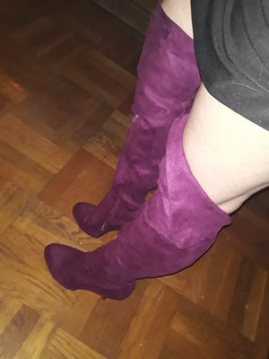 Sexy over the knee fosuade prince purple heel boots for Sale in Oakland, CA