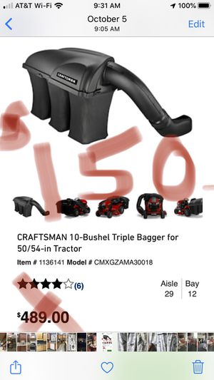 Craftsman bagger attachment for 50 and 54 inch deck's new in box $500 value for Sale in NO HUNTINGDON, PA