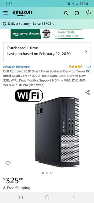 Dell Optiplex 9020 small form factor- renewed for Sale in Boise, ID