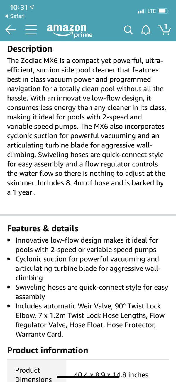 Like new Zodiac mx6 pool vacuum