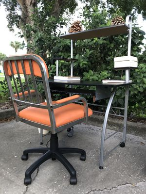 Study and computer table with orang lather chair for Sale in Melbourne, FL
