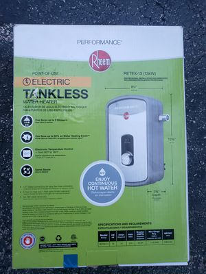 Rheem Retex-13 Electric Tankless Water Heater 13kw for Sale in Pompano Beach, FL