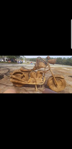 True to size Harley Davidson motorcycle made out wicker, rattan and bamboo. Fantastic detailing throughout. Gorgeous sculpture. for Sale in Tifton, GA