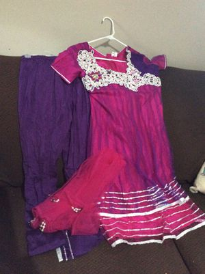 Authentic Indian 3 piece outfit. Dress, pants, scarf. Beaded. Pink and purple. Made in India. $30 for Sale in Columbus, OH