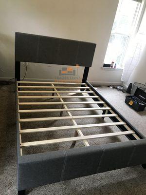 Brand New Full Size Grey Linen Upholstered Platform Bed Frame for Sale in Silver Spring, MD