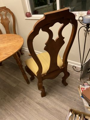 3 wood chairs with pretty gold fabric for Sale in Boulder, CO